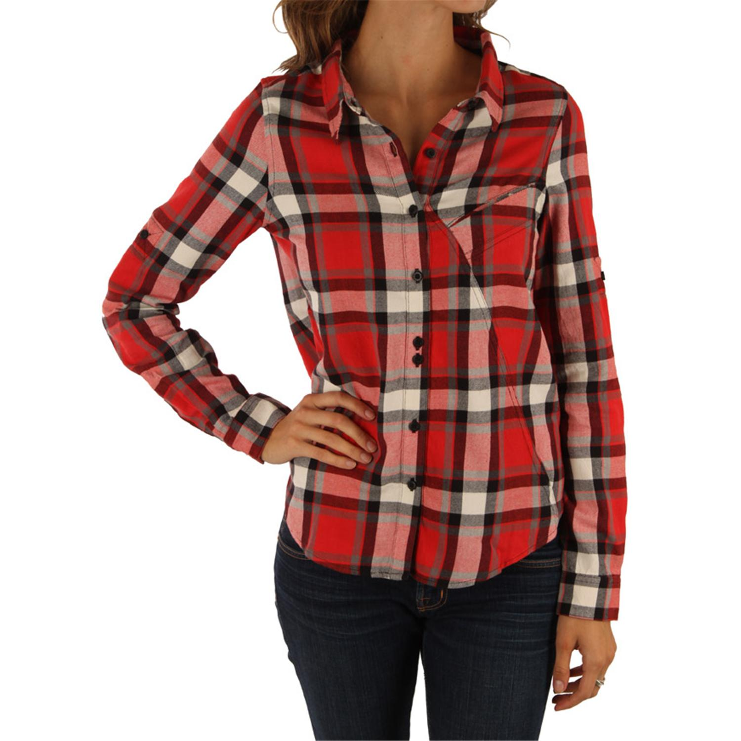 Quiksilver white lies button down shirt women 39 s evo outlet Womens red tartan plaid shirt