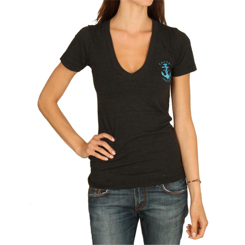 Casual industrees anchor v neck t shirt women 39 s evo outlet for Womens black v neck t shirt