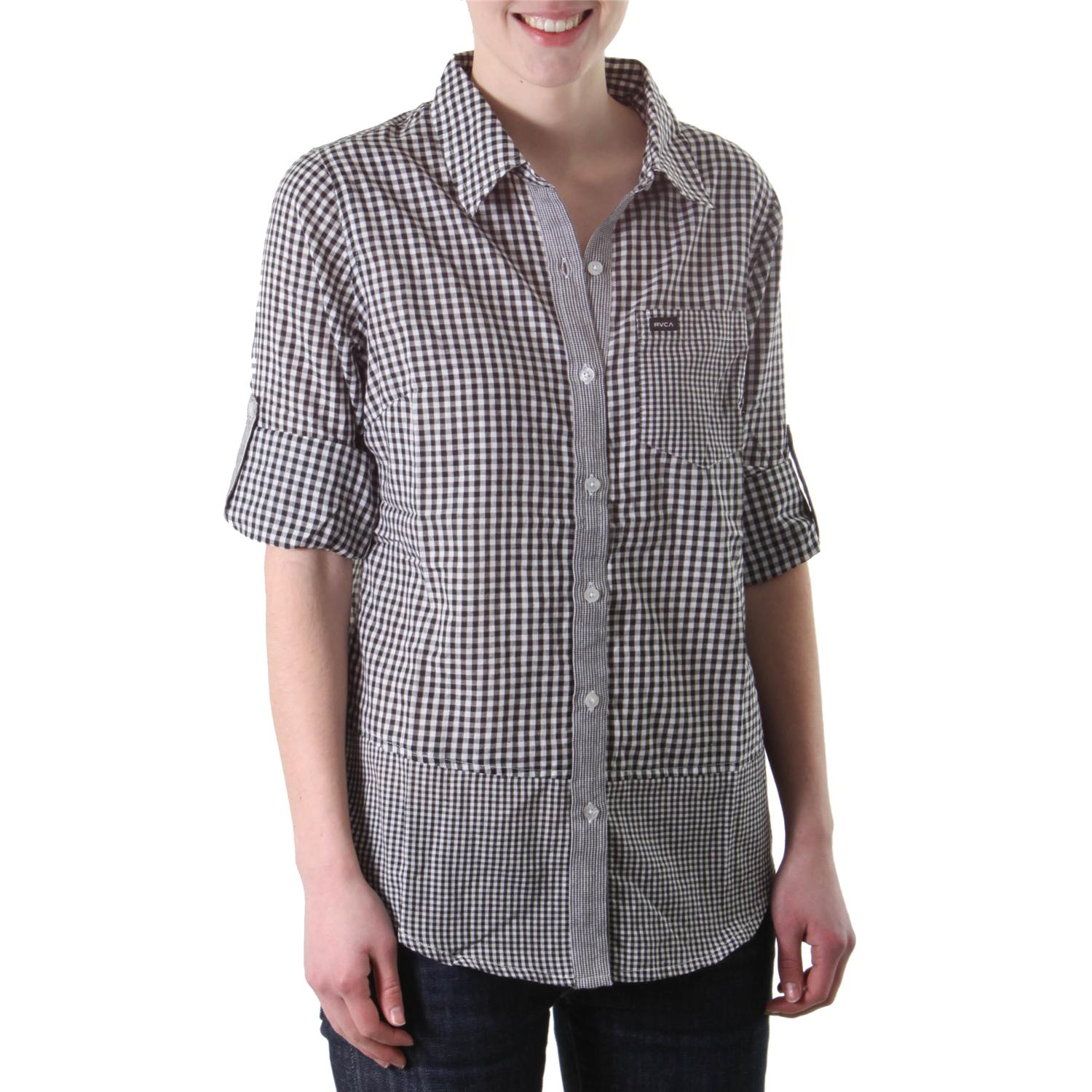 Rvca Avery Plaid Button Down Shirt Women 39 S Evo Outlet