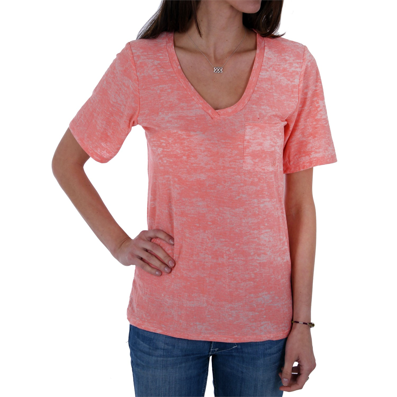 Volcom moclov pocket v neck t shirt women 39 s evo outlet for Pocket tee shirts for womens