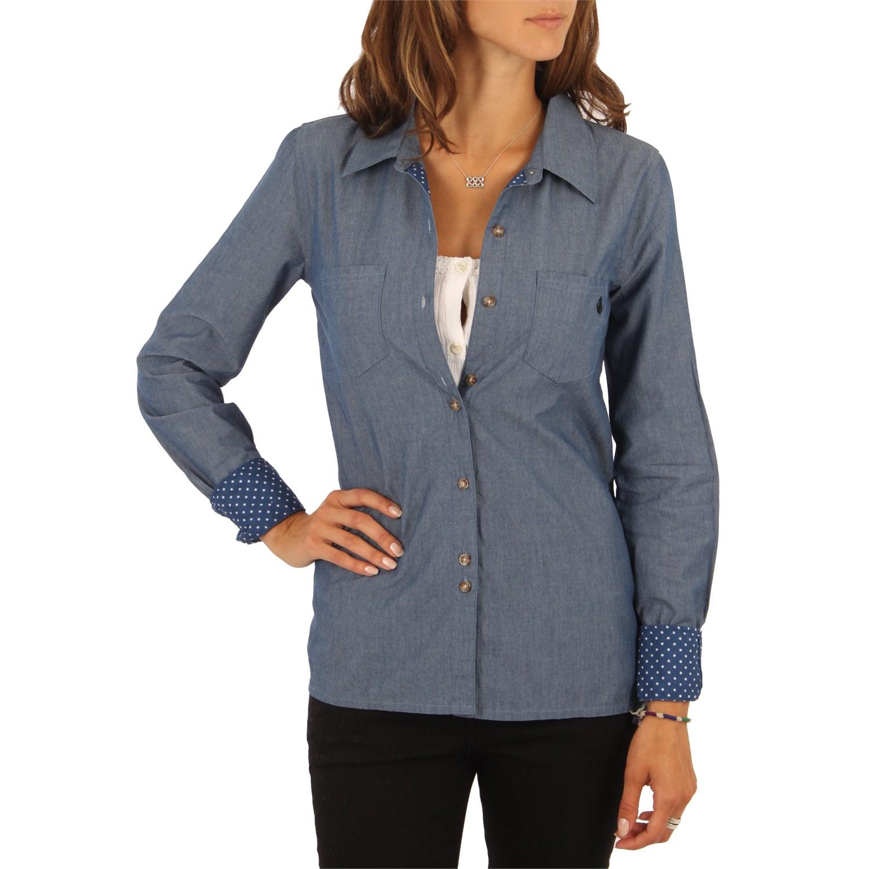 volcom lottie dot long sleeve button down shirt women 39 s