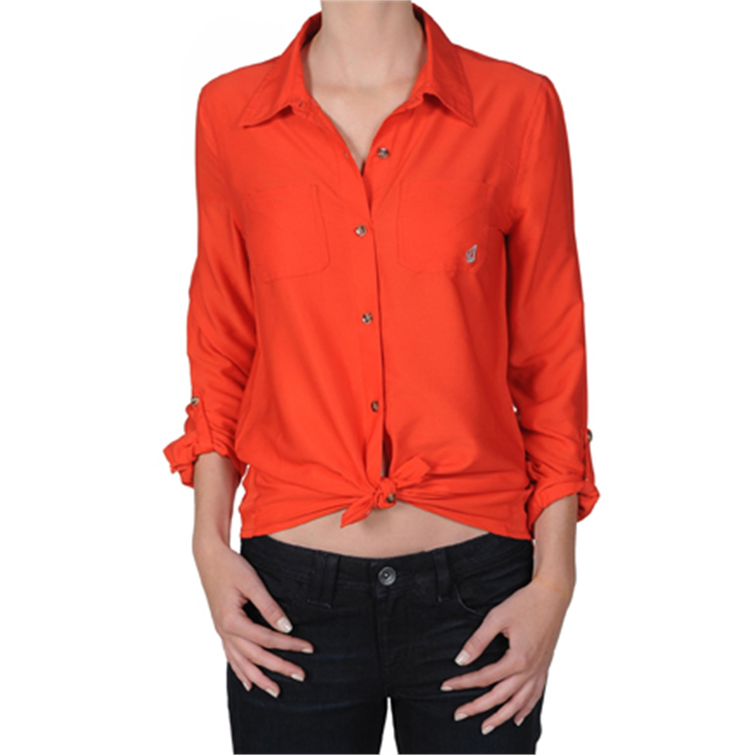 Volcom not so classic button down shirt women 39 s evo outlet for Preppy button down shirts