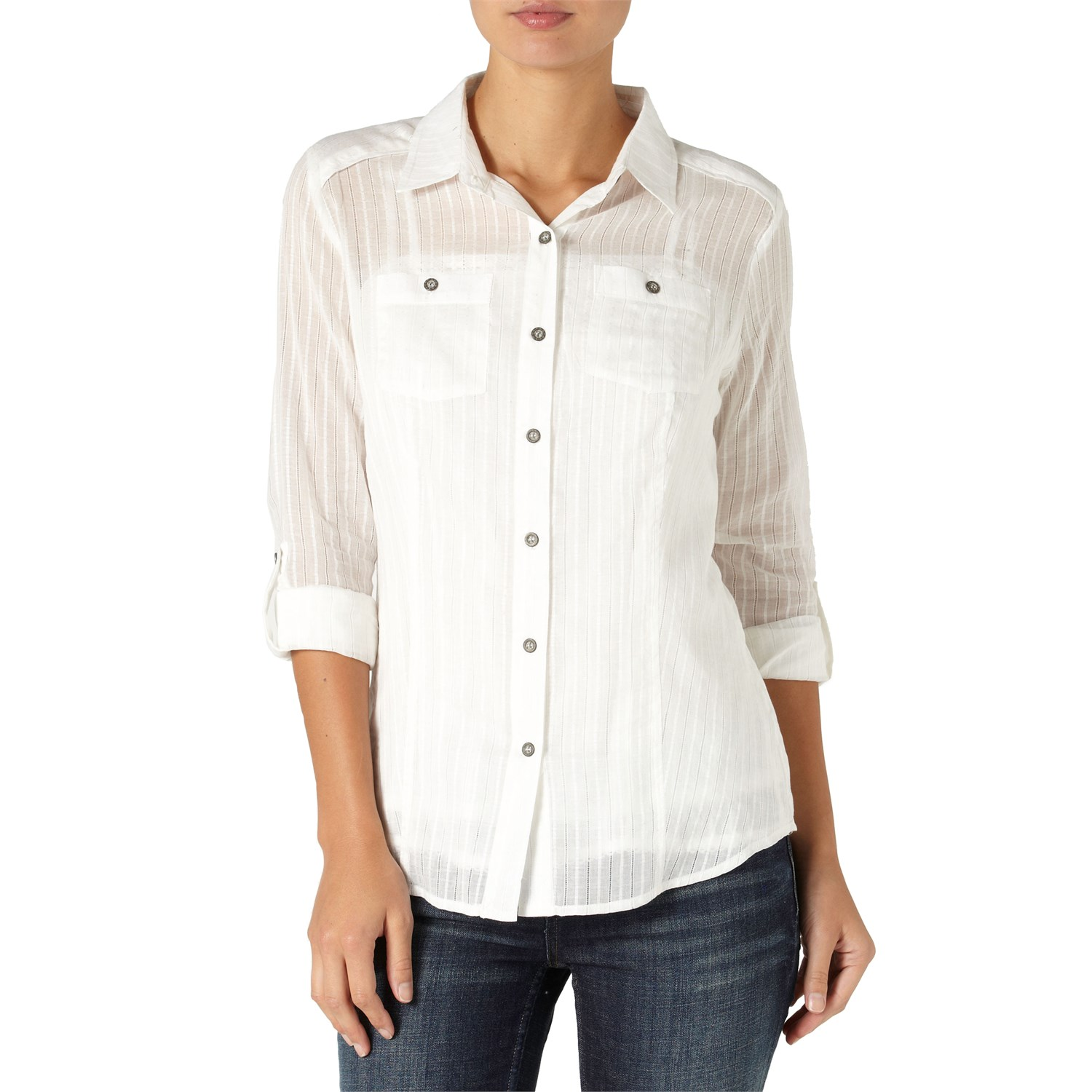 Quiksilver white water button down shirt women 39 s evo for Womens white button down shirt