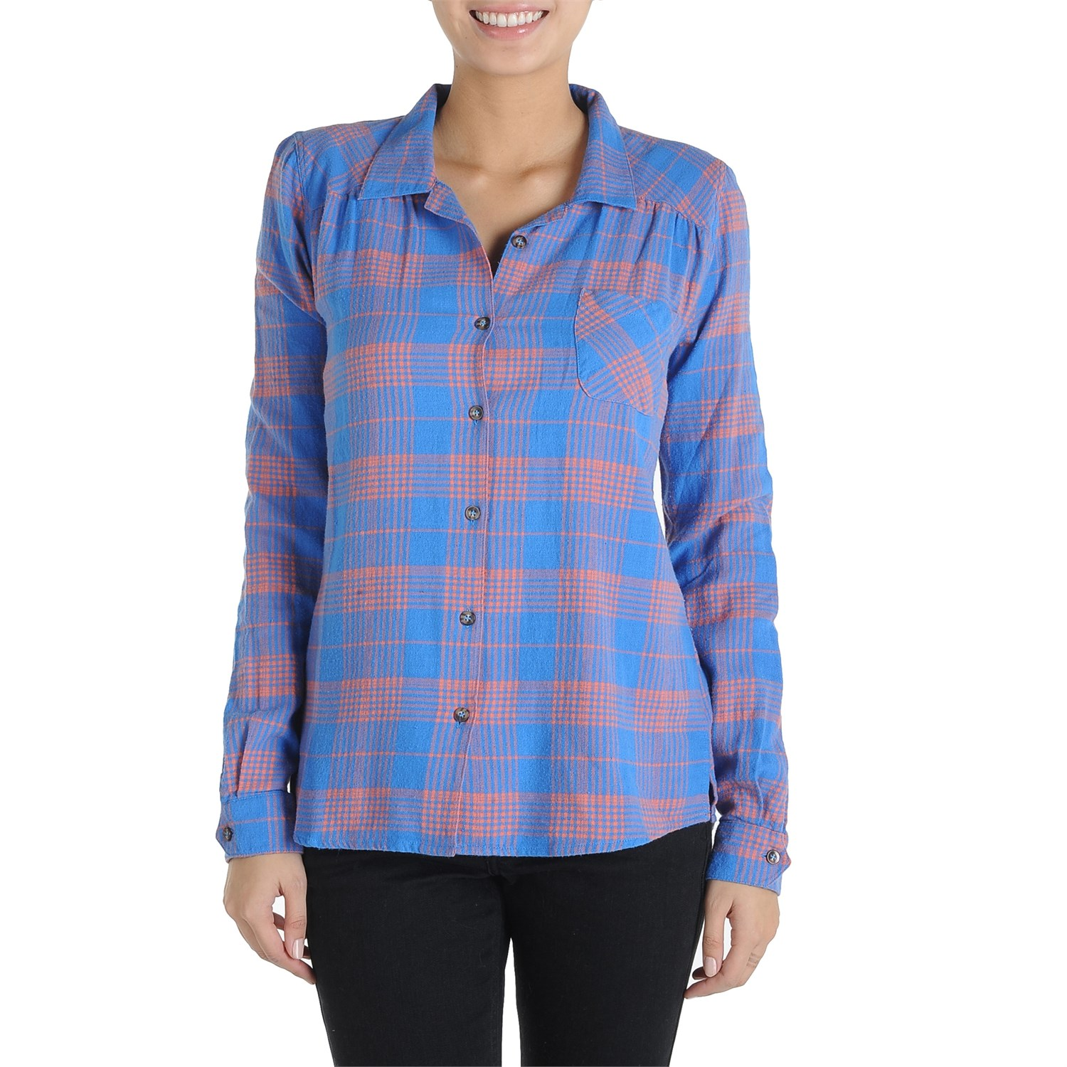 Volcom plaid it out button down shirt women 39 s evo for Plaid button down shirts for women