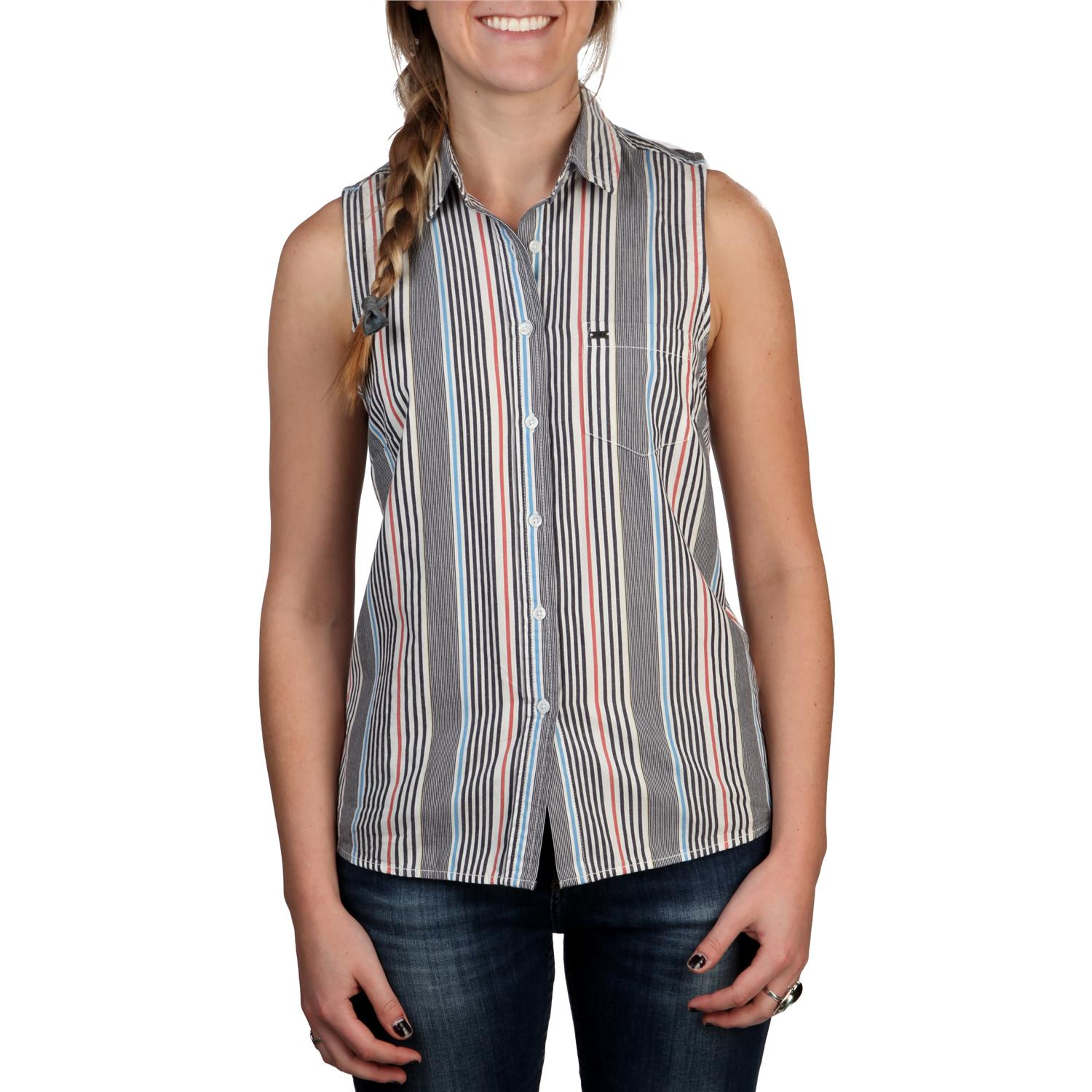 Obey clothing pearce sleeveless button down shirt women for Women s button down dress shirts