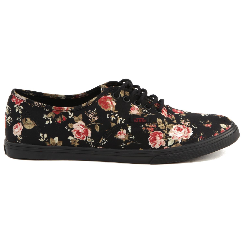 Vans Authentic Lo Pro Skate Shoe Black Floral