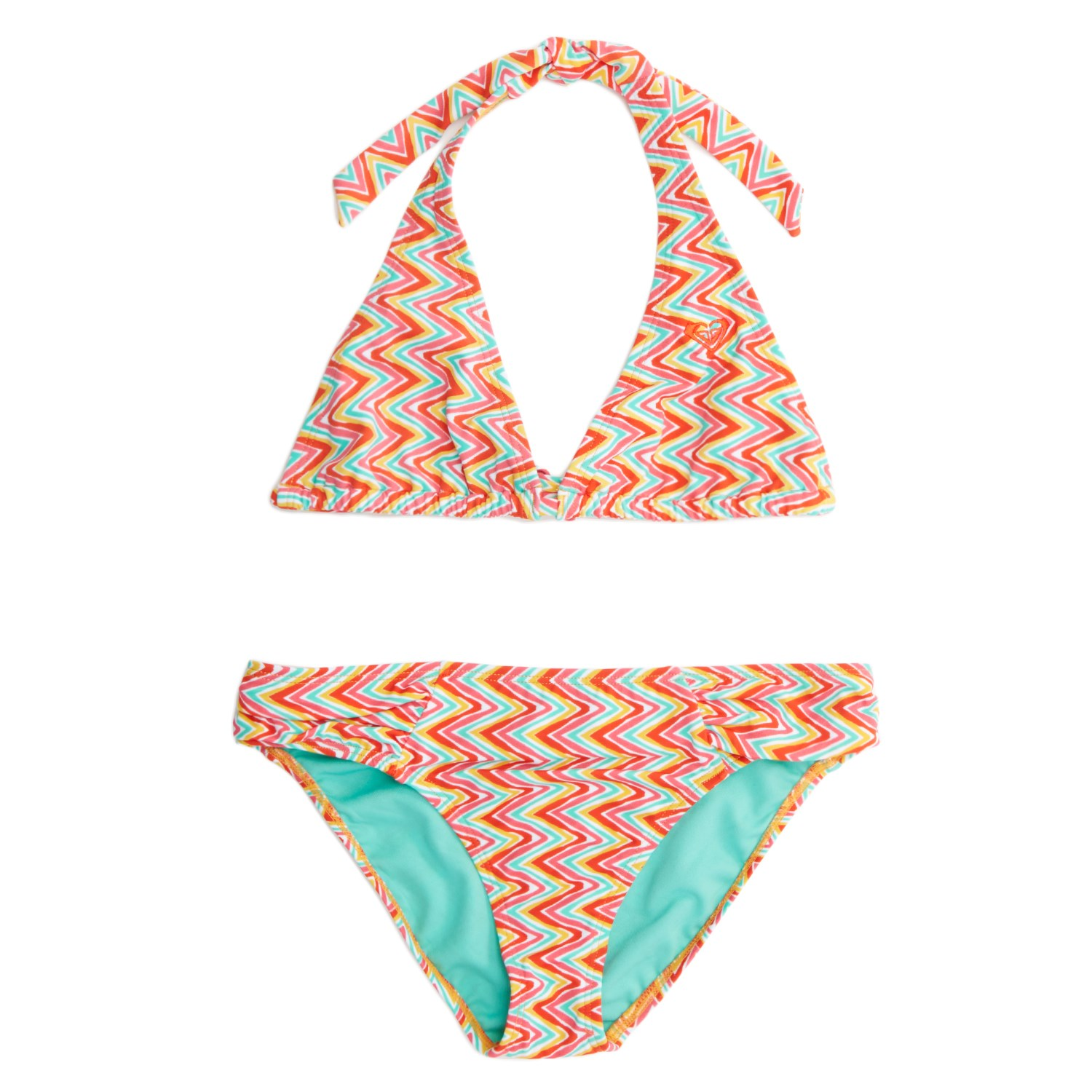 Roxy Catching Waves Halter Bikini Top And Bottom Set (Ages