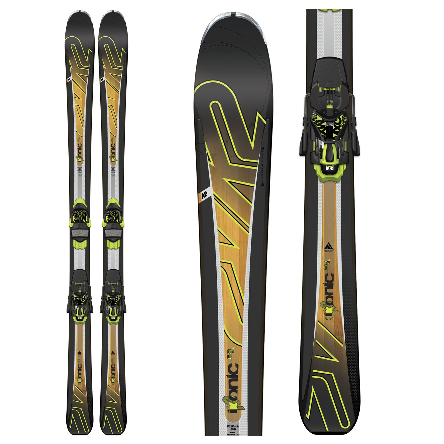 K2 IKonic 80 Ti Skis + MXC 12 Bindings + Salomon X Pro 100