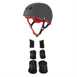 Triple 8 Sweatsaver w​/ Liner Skateboard Helmet ​+ Little Tricky Jr. 3 Pack Skateboard Pad Set - Big Kids'