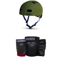 Destroyer Certified Skateboard Helmet ​+ Destroyer Grom Skateboard Pad Set - Kids'