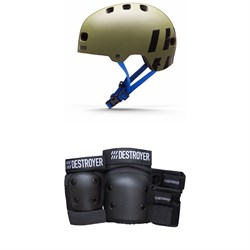 Destroyer Multi-Impact Skateboard Helmet + Destroyer Grom Skateboard Pad Set - Kids'
