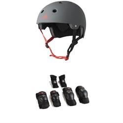 Triple 8 Dual Certified EPS Skateboard Helmet + Saver Series High Impact Adult Pad Set