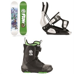 Flow Micron Mini Snowboard - Little Kids + Flow Micron Snowboard Bindings - Little Kids + Flow Micron Boa Snowboard Boots -