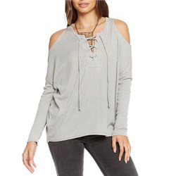 Chaser Vintage Rib Lace Front Cold Shoulder Dolman Top - Women's