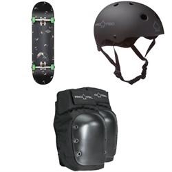 Globe G1 Full On Skateboard + Pro-Tec Classic Skate Skateboard Helmet + Pro-Tec Street Skateboard Knee Pads