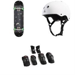 Globe G1 Full On Skateboard + Triple 8 Brainsaver w/ Sweatsaver Liner Skateboard Helmet + Triple 8 Saver Series High Impact Adult Skateboard Pad Set