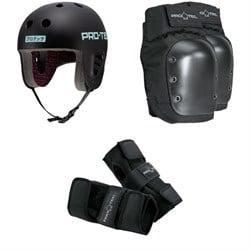 Pro-Tec The Full Cut Skateboard Helmet + Street Skateboard Knee Pads + Street Skateboard Wrist Pads