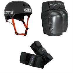 Pro-Tec The Bucky Skateboard Helmet + Pro-Tec Street Skateboard Knee Pads + Pro-Tec Street Skateboard Wrist Pads