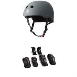 Triple 8 The Certified Sweatsaver Skateboard Helmet + Triple 8 Saver Series High Impact 3 Pack Adult Skateboard Pad Set