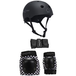 Pro-Tec The Classic EPS Skateboard Helmet ​+ Pro-Tec Street Gear Junior Skateboard Pads 3-Pack - Big Kids'