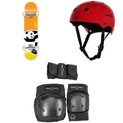 Enjoi Negative Space First Push 8.0 Skateboard Complete + Pro-Tec Classic Skate Skateboard Helmet + Pro-Tec Street Gear Junior Skateboard Pads