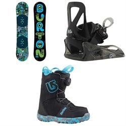 Burton Chopper Snowboard + Burton Grom Snowboard Bindings - Little Kids' + Burton Grom Boa Snowboard Boots - Big Kids' 2019