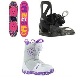 Burton Chicklet Snowboard - Big Girls' ​+ Burton Grom Snowboard Bindings - Little Kids' ​+ Burton Grom Boa Snowboard Boots - Big Kids' 2019
