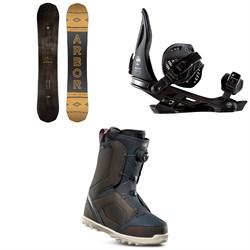 Arbor Element Black Rocker Snowboard + Arbor Hemlock Snowboard Bindings + thirtytwo STW Boa Snowboard Boots