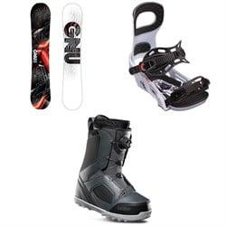 GNU Carbon Credit Asym BTX Snowboard + Bent Metal Joint Snowboard Bindings + thirtytwo STW Boa Snowboard Boots