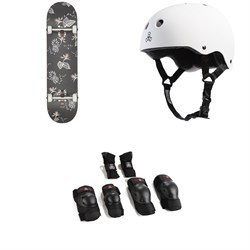Globe G1 Full On Skateboard Complete ​+ Triple 8 Brainsaver w​/ Sweatsaver Liner Skateboard Helmet ​+ Triple 8 Saver Series High Impact Skateboard Pad Set