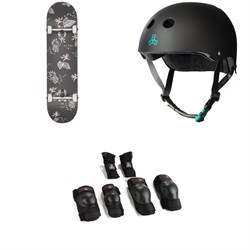 Globe G1 Full On Skateboard Complete ​+ Triple 8 The Certfied Sweatsaver Skateboard Helmet ​+ Triple 8 Saver Series High Impact Adult Skateboard Pad Set