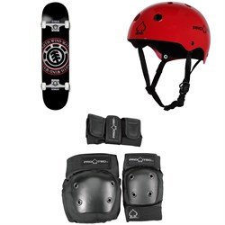 Element Seal 7.75 Skateboard ​+ Pro-Tec Classic Skate Skateboard Helmet ​+ Pro-Tec Street Gear Junior Skateboard Pads