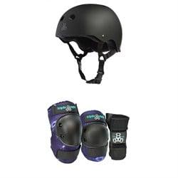 Triple 8 Sweatsaver w/ Liner Skateboard Helmet + Triple 8 Galaxy Skateboard Pad Set
