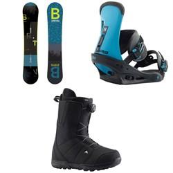 Burton Ripcord Snowboard + Burton Freestyle Snowboard Bindings + Burton Moto Boa Snowboard Boots 2019