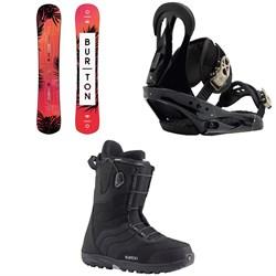 Burton Hideaway Snowboard - Women's + Burton Citizen Snowboard Bindings - Women's + Burton Mint Snowboard Boots - Women's 2019
