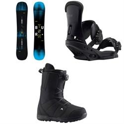 Burton Instigator Snowboard + Burton Custom EST Snowboard Bindings + Burton Moto Boa Snowboard Boots 2019