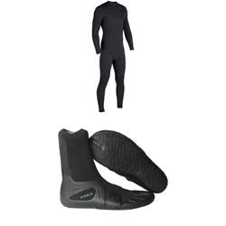 Vissla 7 Seas 4/3 Chest Zip Wetsuit + Vissla 7 Seas Split Toe Booties