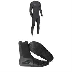 Vissla High Seas Drainer 4/3 Chest Zip Wetsuit + Vissla 7 Seas Split Toe Booties