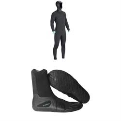 Vissla North Seas 5.5/4.5/3 Hooded Chest Zip Wetsuit + Vissla 7 Seas 3mm Split Toe Booties