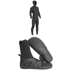 Vissla North Seas 5.5/4.5/3 Hooded Chest Zip Wetsuit + Vissla 7 Seas 5mm Round Toe Booties