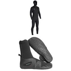 Vissla Seven Seas 4/3 Hooded Chest Zip Wetsuit + Vissla 7 Seas 5mm Round Toe Booties