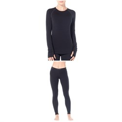 Icebreaker Zone 200 Midweight Baselayer Crew Top ​+ Zone 200 Midweight Baselayer Bottoms - Women's