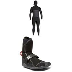 Billabong 5/4 Furnace Absolute X Hooded Chest Zip Wetsuit + Billabong 5mm Furnace Carbon X Round Toe Boots