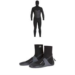 Billabong 5/4 Furnace Absolute X Hooded Chest Zip Wetsuit + Billabong 5mm Furnace Absolute Split Toe Wetsuit Boots