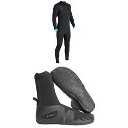 Vissla North Seas 4/3 Chest Zip Wetsuit + Vissla 7 Seas 5mm Round Toe Booties