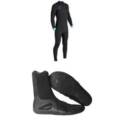 Vissla North Seas 4/3 Chest Zip Wetsuit + Vissla 7 Seas Split Toe Booties