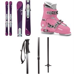Rossignol Temptation Pro Skis ​+ Kid X 4 Bindings - Girls' ​+ Roces Idea Adjustable Alpine Ski Boots (19-22) - Kids' ​+ evo Lil Send'r Adjustable Ski Poles - Little Kids'