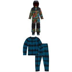 Burton Minishred Striker One-Piece + Fleece Baselayer Set - Little Kids'