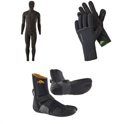 Patagonia R4 Yulex Front Zip Hooded Wetsuit ​+ Patagonia R2 Yulex Wetsuit Gloves ​+ Patagonia R3 Yulex Split Toe Wetsuit Boots
