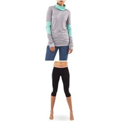 MONS ROYALE Cornice Rollover Long-Sleeve Top ​+ Alagna 3​/4 Leggings - Women's